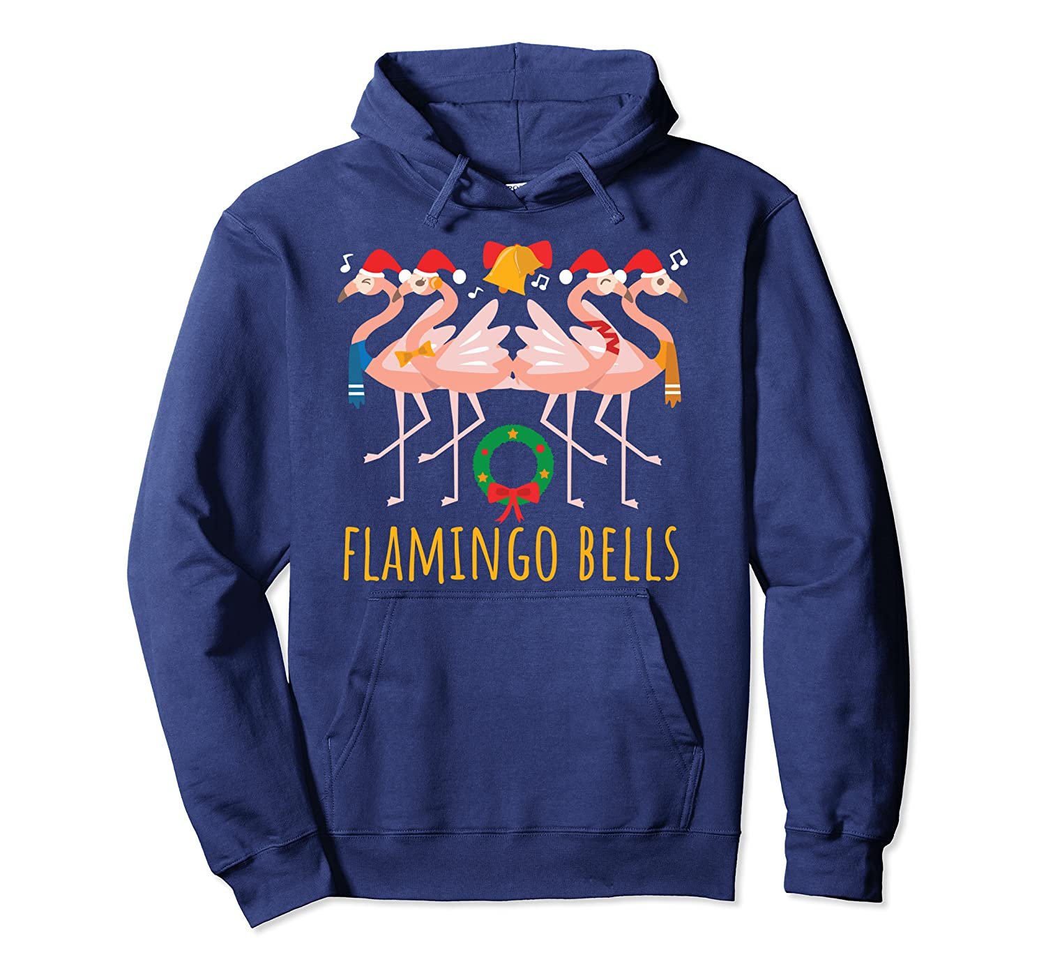flamingo bells cute funny mom christmas gift pullover hoodie 1 - Classic Shop